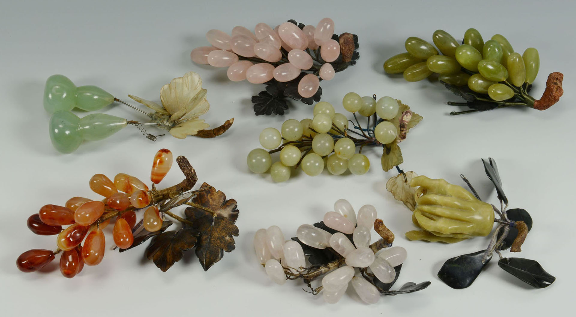 Lot 678: Collection of Chinese Hardstone Fruit, 18 pcs.