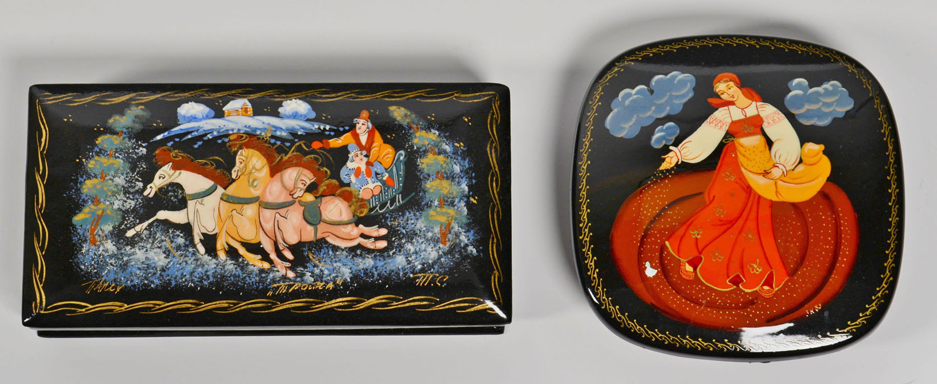 Lot 679: Collection of 5 Russian Lacquer Boxes & Book