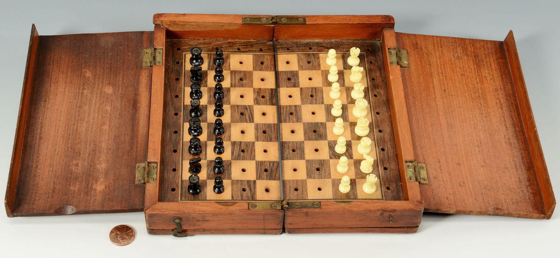 Lot 680: Folding Travel Chess Set