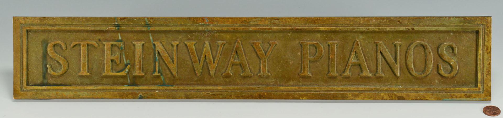 Lot 684: Bronze Steinway Piano Sign