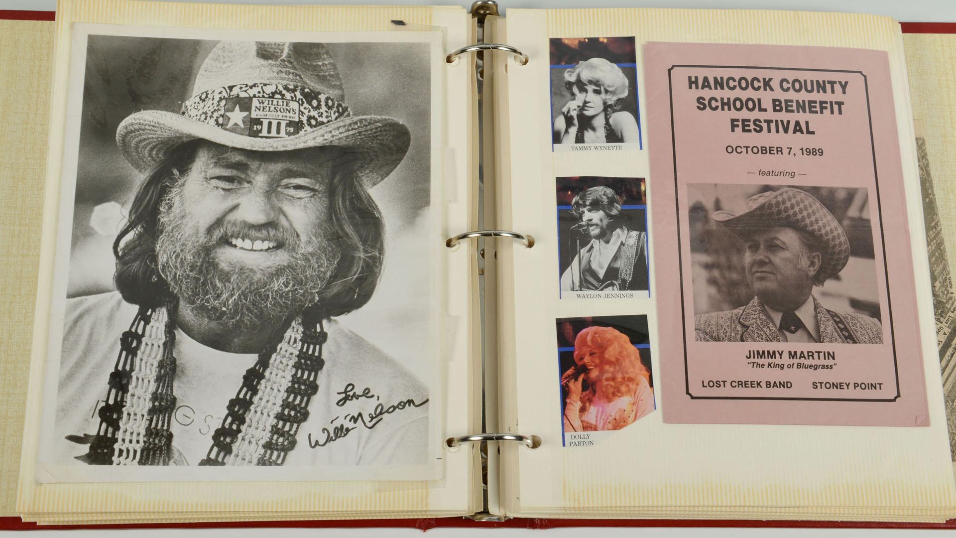 Lot 688: Red Scrapbook w/ Country Music Memorabilia