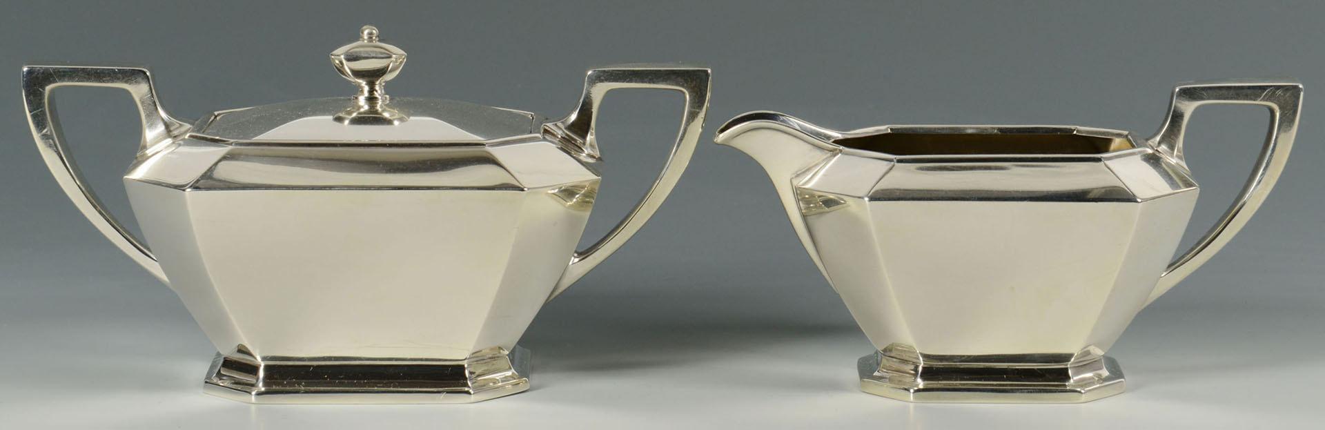 Lot 68: Gorham Fairfax 3-pc sterling tea set