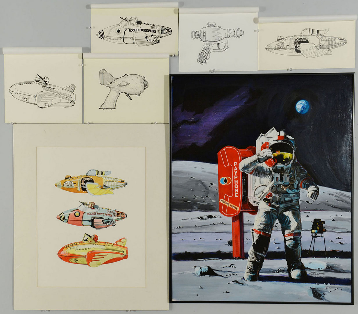 Lot 696: Seven Futuristic Works by James Caulfield