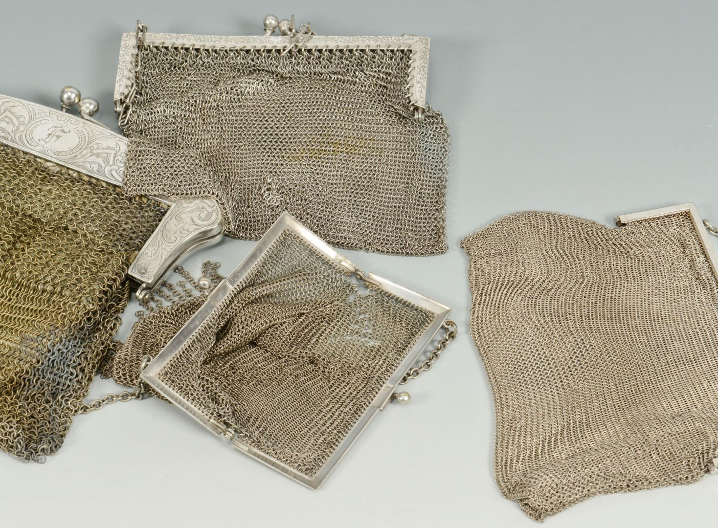 Lot 709: Group of 7 Ladies Mesh Bags, 3 Silver type
