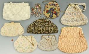 """Lot 710: 8 Ladies Vintage Evening Bags plus 60"""" Necklace"""