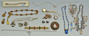 Lot 714: Large group costume jewelry, 18 items