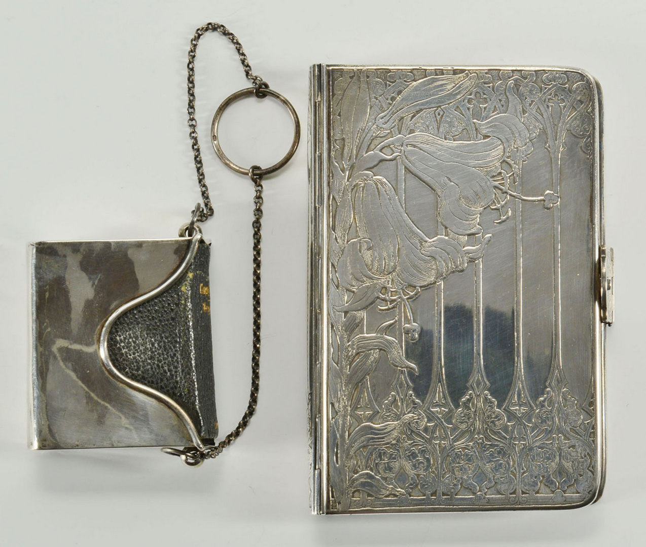 Lot 71: 2 Sterling Silver Book Covers, 1 Tiffany Art Nouve