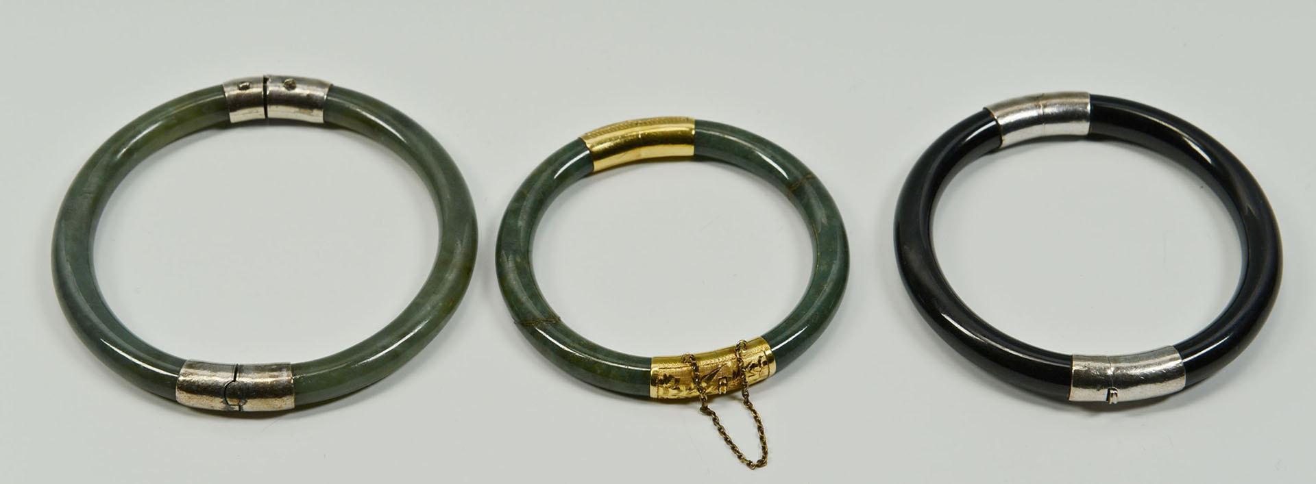 Lot 722: 3 Asian Bangle Bracelets, 2 Jade