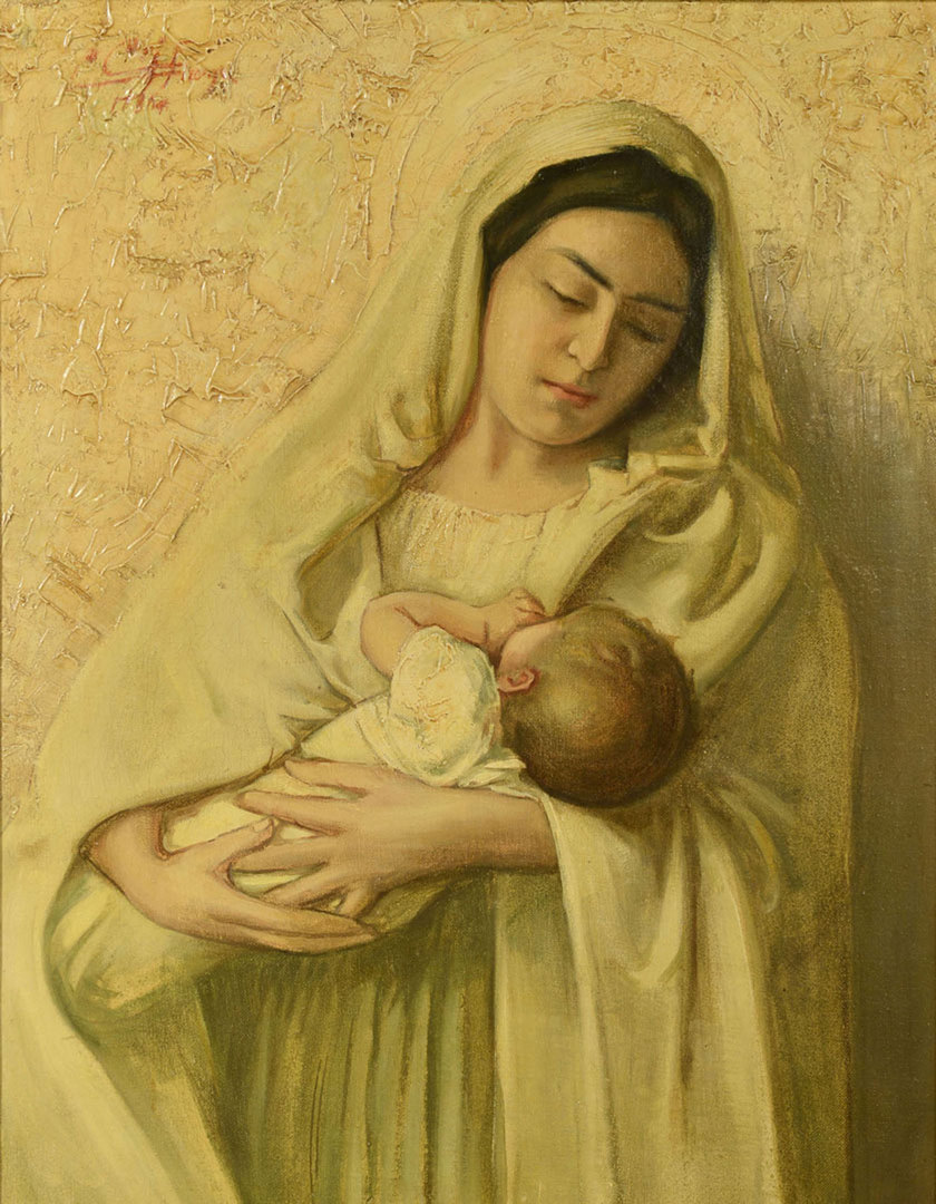 Lot 725: Italian Oil on Canvas Madonna and Child Portrait