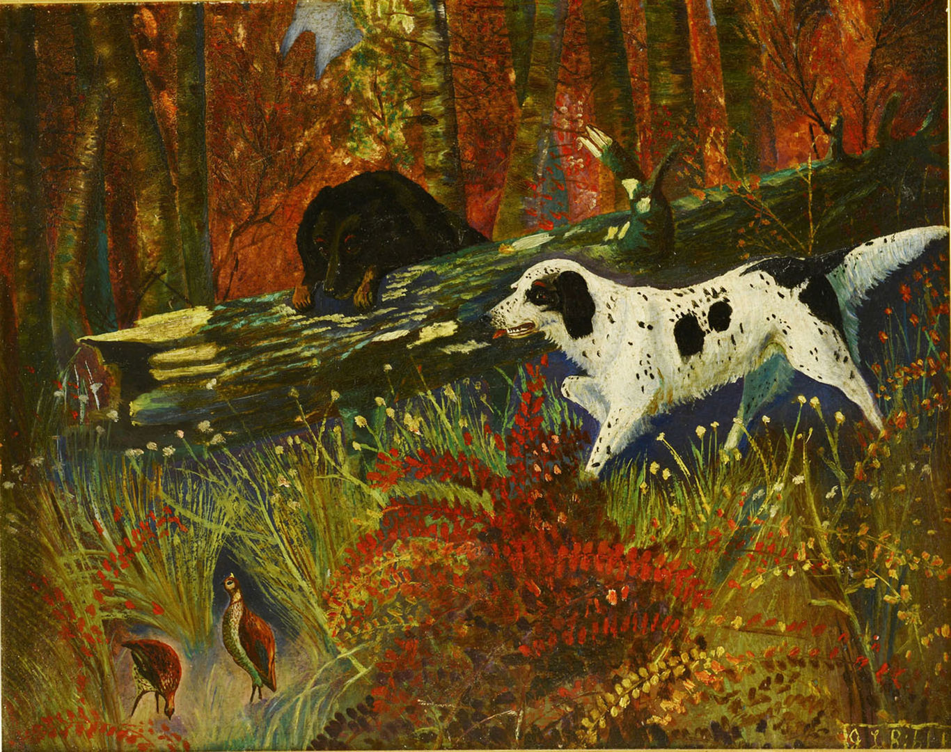 Lot 727: East TN Bird Dog Painting