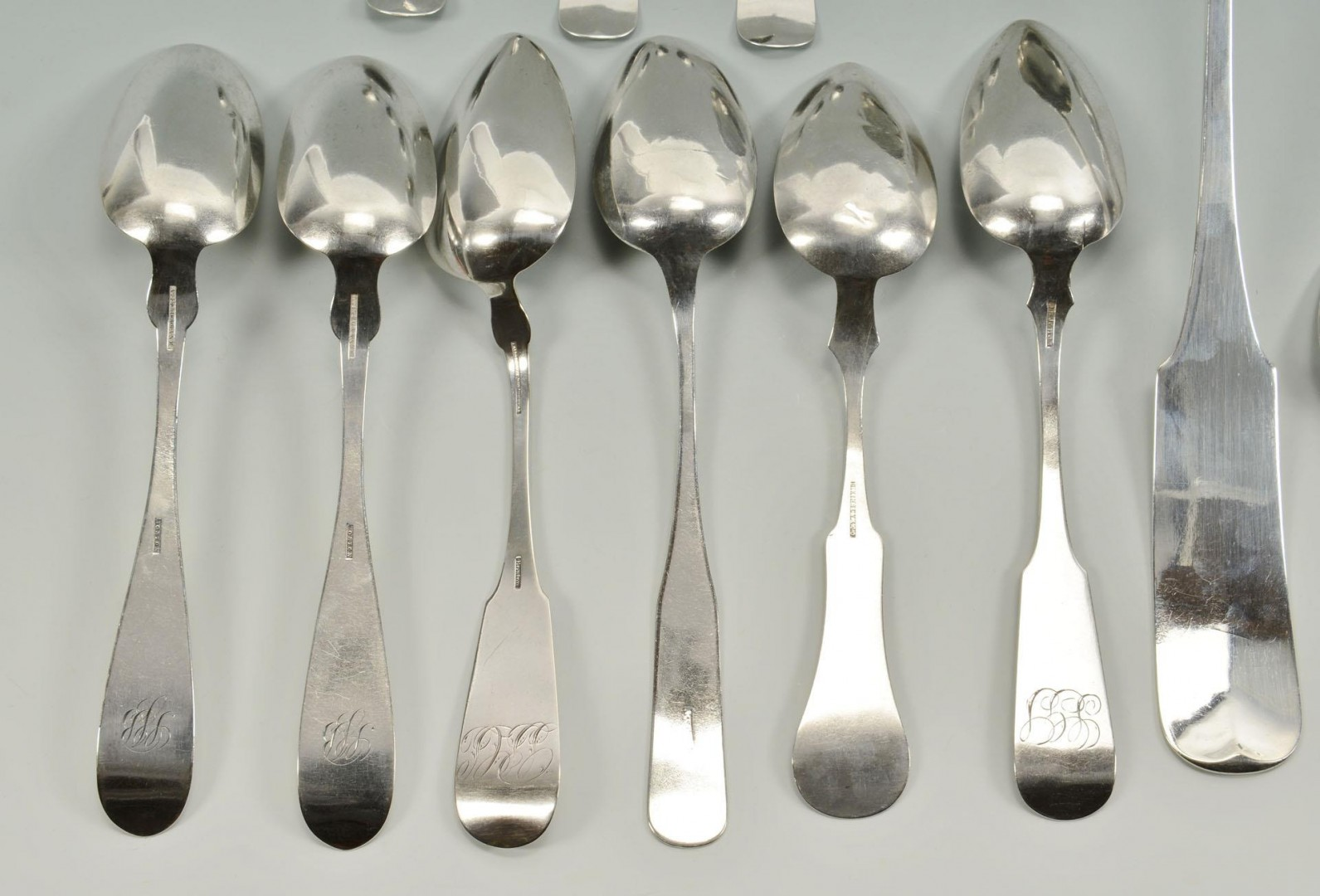 Lot 76: Assorted Coin silver flatware, 19 items