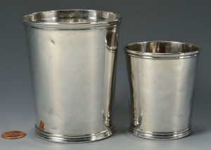 Lot 77: 2 Coin Silver Beakers or Julep Cups