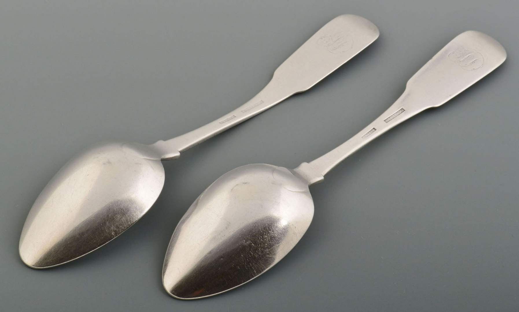Lot 78: Two A. Rasch Coin Silver Tablespoons, New Orleans