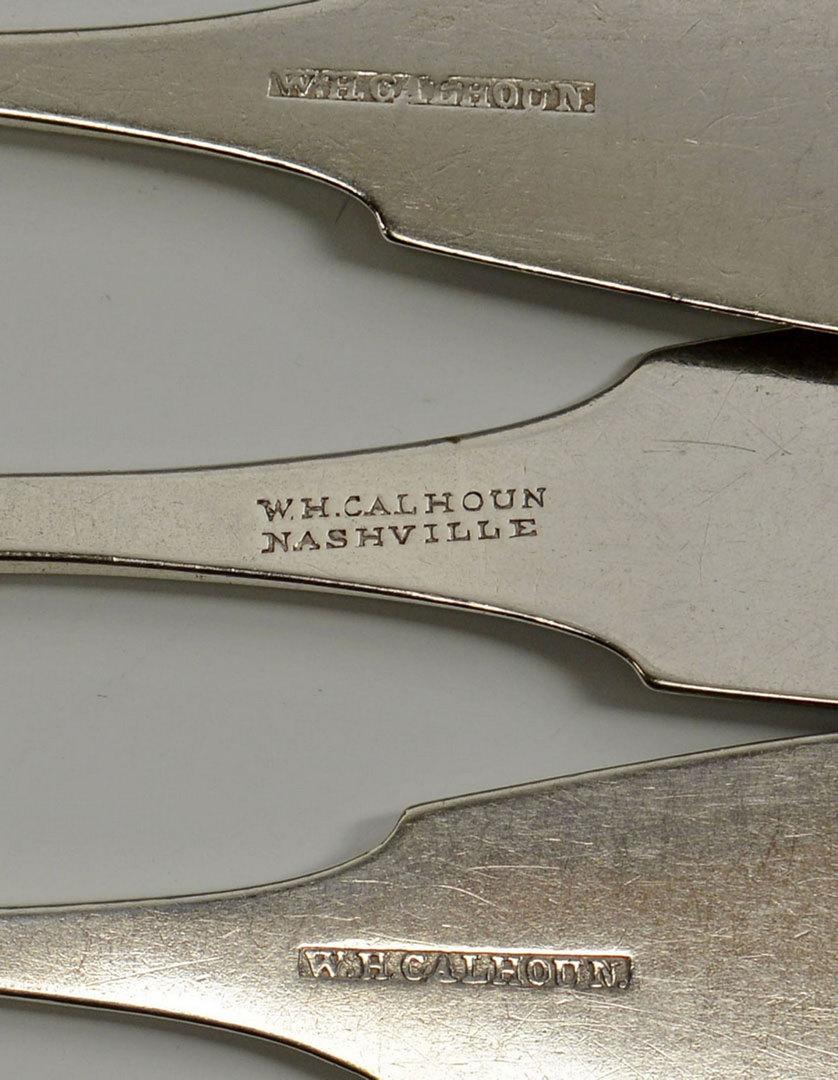 Lot 82: 3 Calhoun Coin Silver Dessert Spoons, Nashville