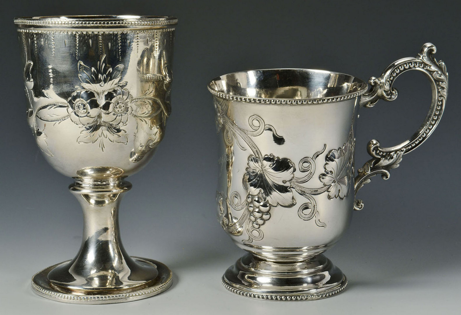 Lot 84: 2 Repousse Coin Silver Cups, Wemyss family