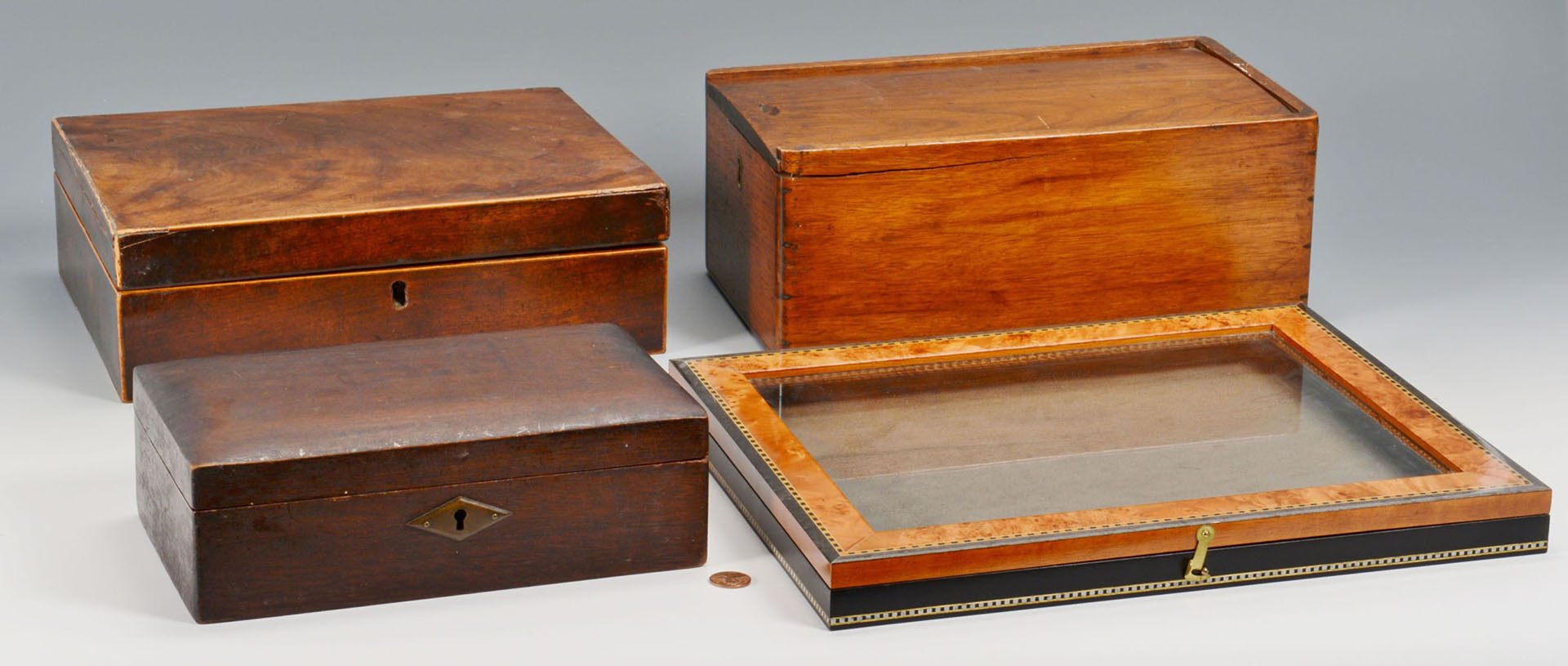 Lot 89: 3 Antique Boxes & 1 Shadowbox
