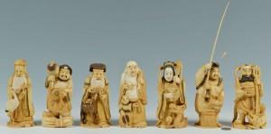 "Lot 8: Set of Large Japanese Carved Ivory ""7 Lucky Gods"""