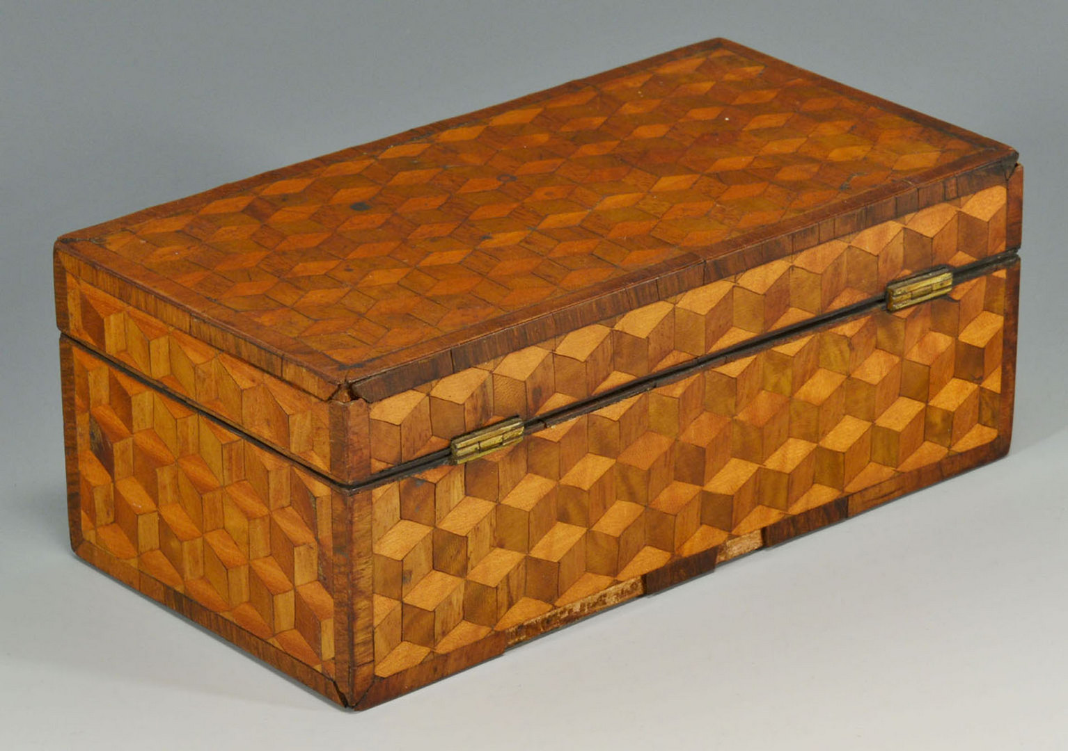 Lot 90: Traveling Writing Box with Parquetry Veneer