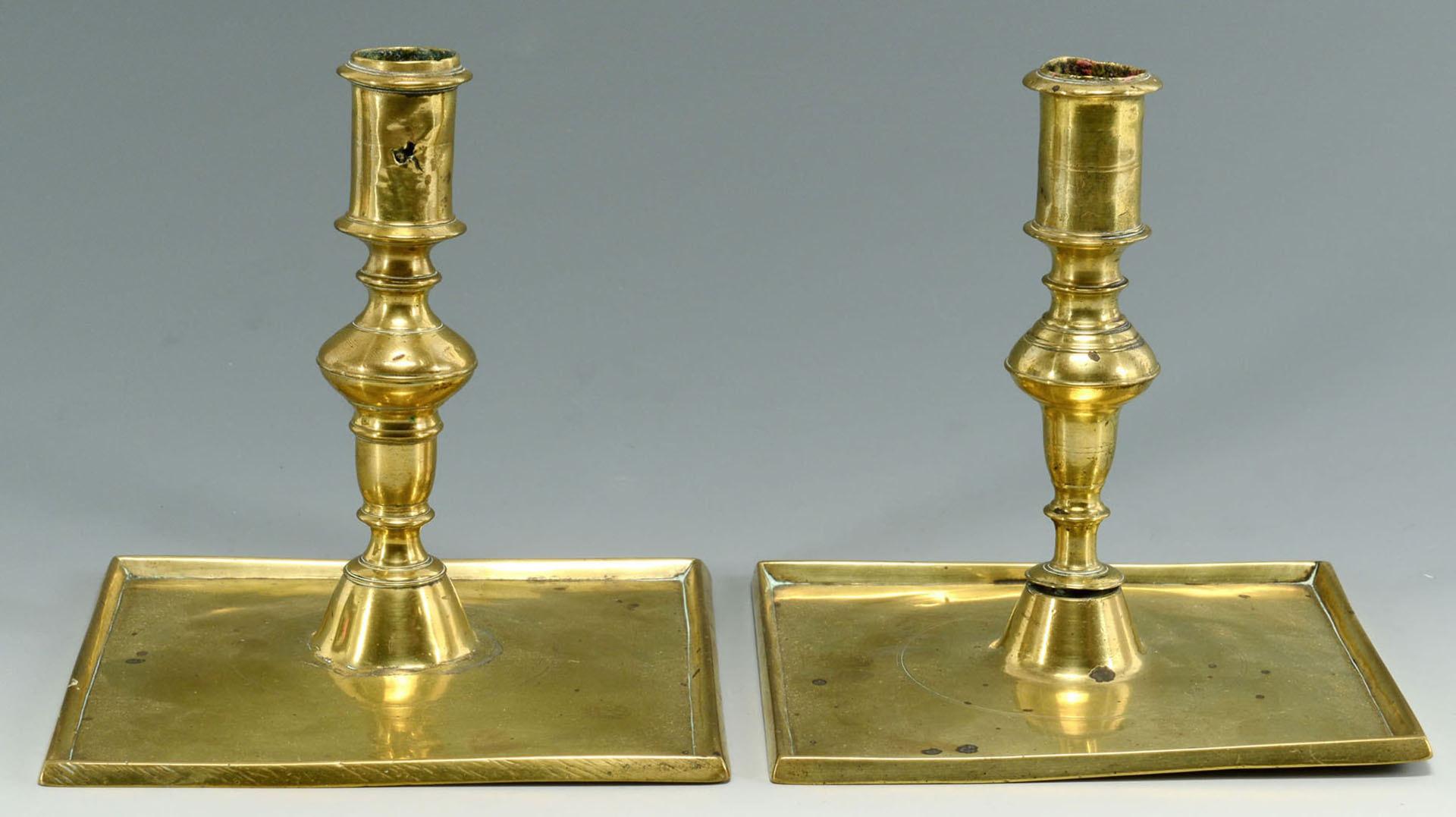 Lot 92: Four Similar 17th c. Brass Candlesticks