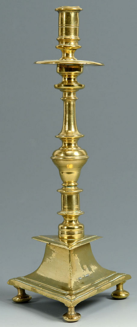 Lot 93: Two 18th c. Footed Brass Candlesticks