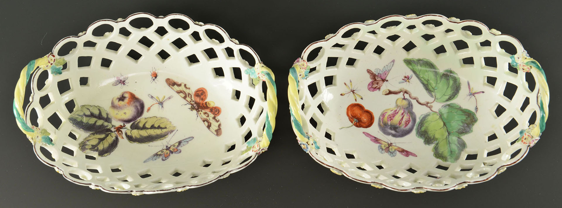 Lot 96: Pair oval porcelain baskets with insect and fruit