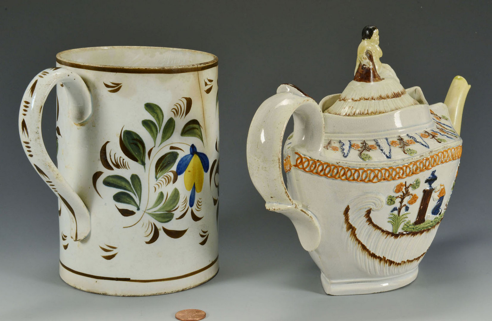 Lot 98: Prattware teapot and pearlware cann