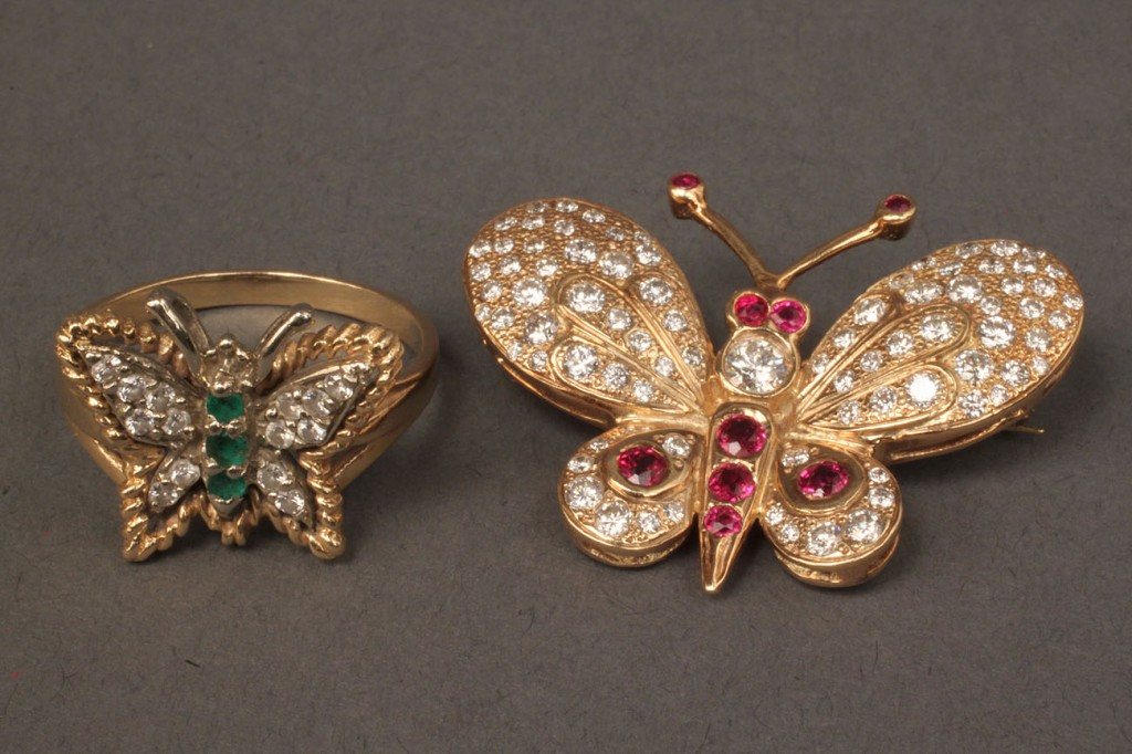 Lot 108:  Diamond and Gemstone Butterfly Pin & Ring