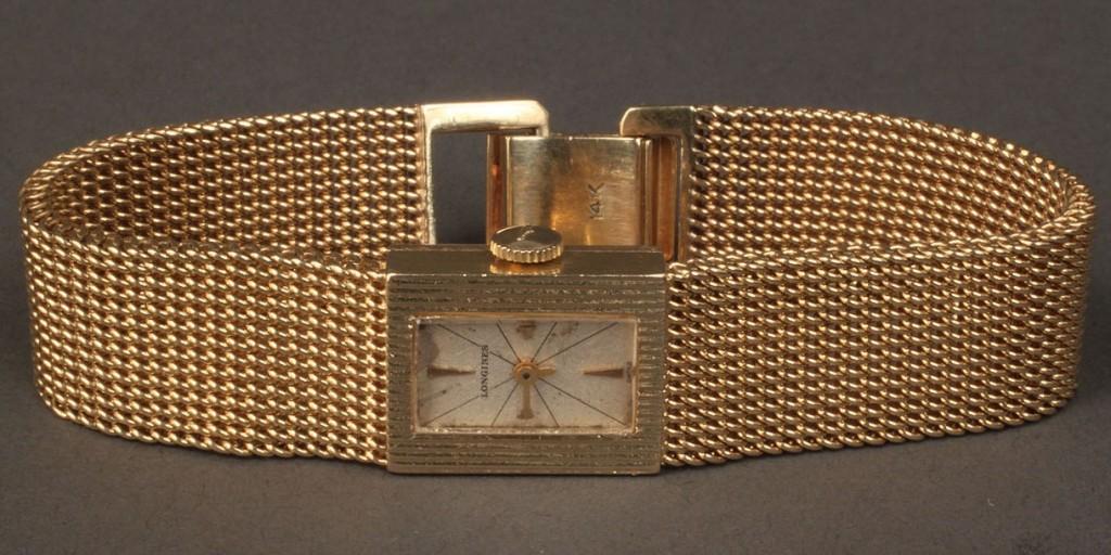 Lot 109: Ladies Swiss 14K Longines watch, 20th c.