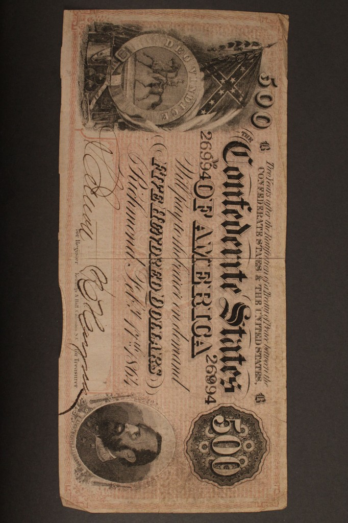 Lot 10: Confederate currency, 5 pcs, 7th issue