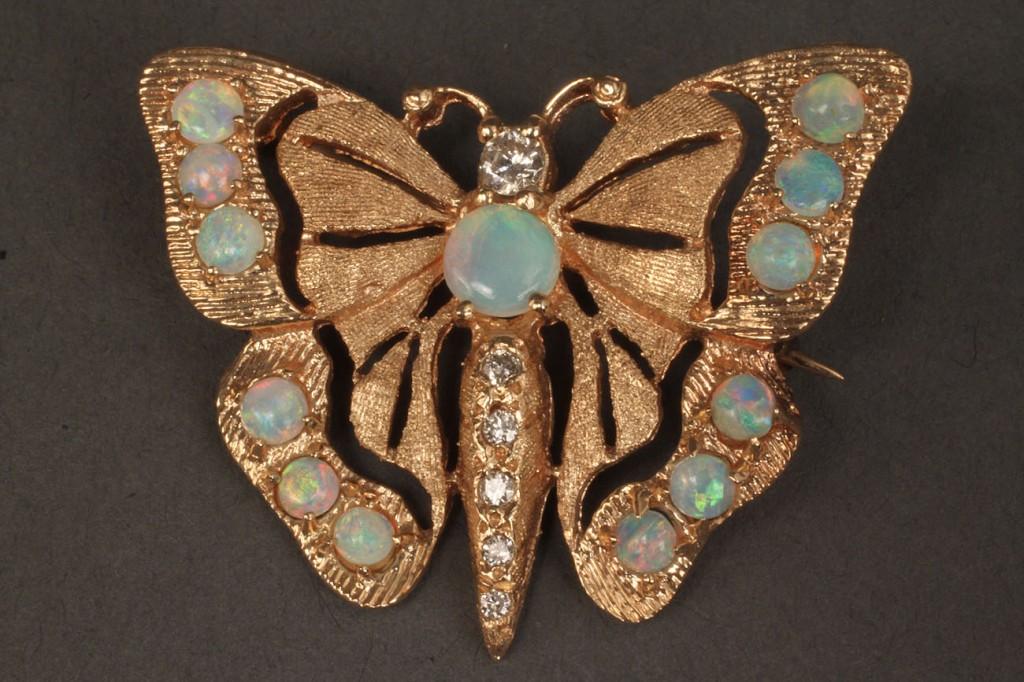 Lot 112: Lot of 2 14K butterfly pendants, 1 diam. & opal