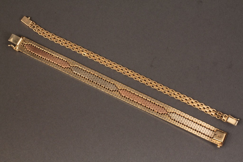 Lot 113: Lot of 2 14K bracelets, Italian, 1 tri-color