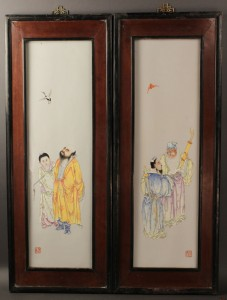Lot 118: Pair of Chinese wall plaques, Early Republic