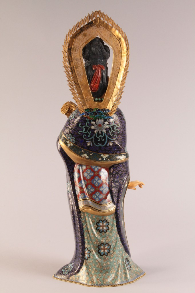 Lot 124: Chinese Cloisonne and Ivory Figure of Quan Yin