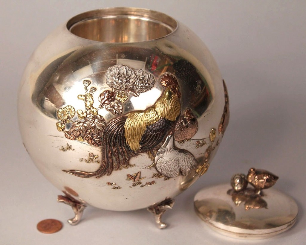 Lot 125: Japanese Mixed Metals Silver urn