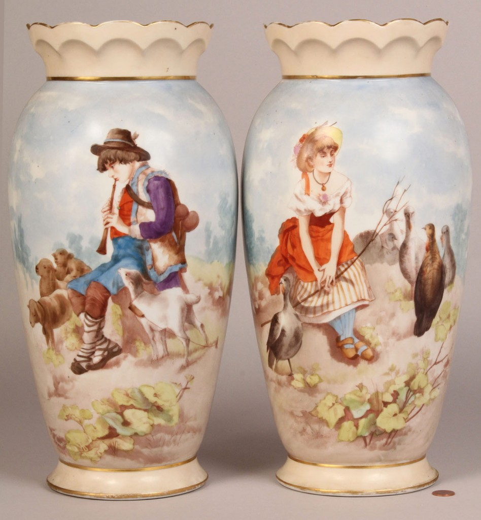 Lot 130: Pair of Large Continental Porcelain Vases