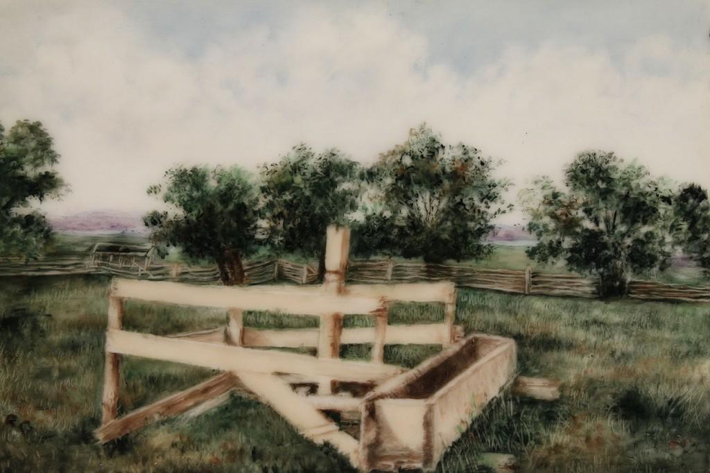 Lot 133: Tressemann & Vogt , Limoges Landscape Tile