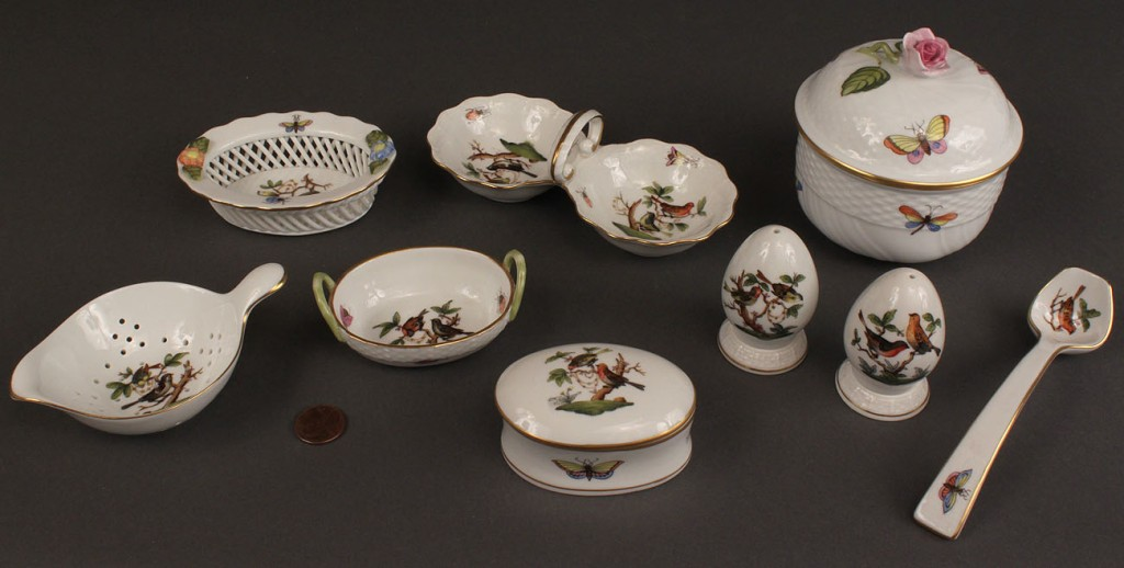 "Lot 134: Lot of 10 Herend ""Rothschild Bird"" items"