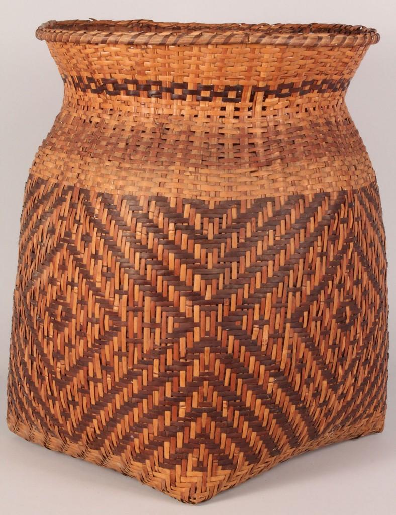 """Lot 13: Large Cherokee rivercane storage basket, 19"""" H"""