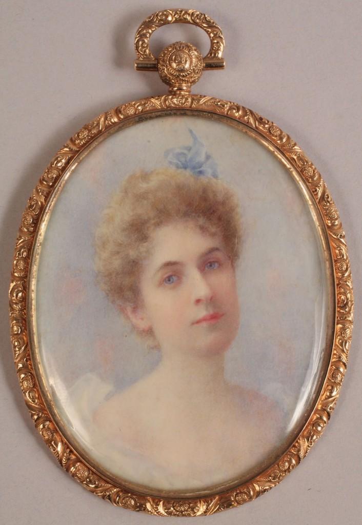 Lot 140: Miniature portrait of young woman, 14K case