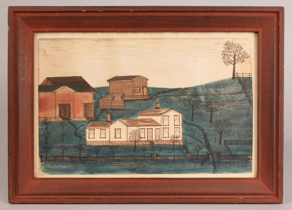 Lot 142: Folk art watercolor, farm landscape, 19th c.
