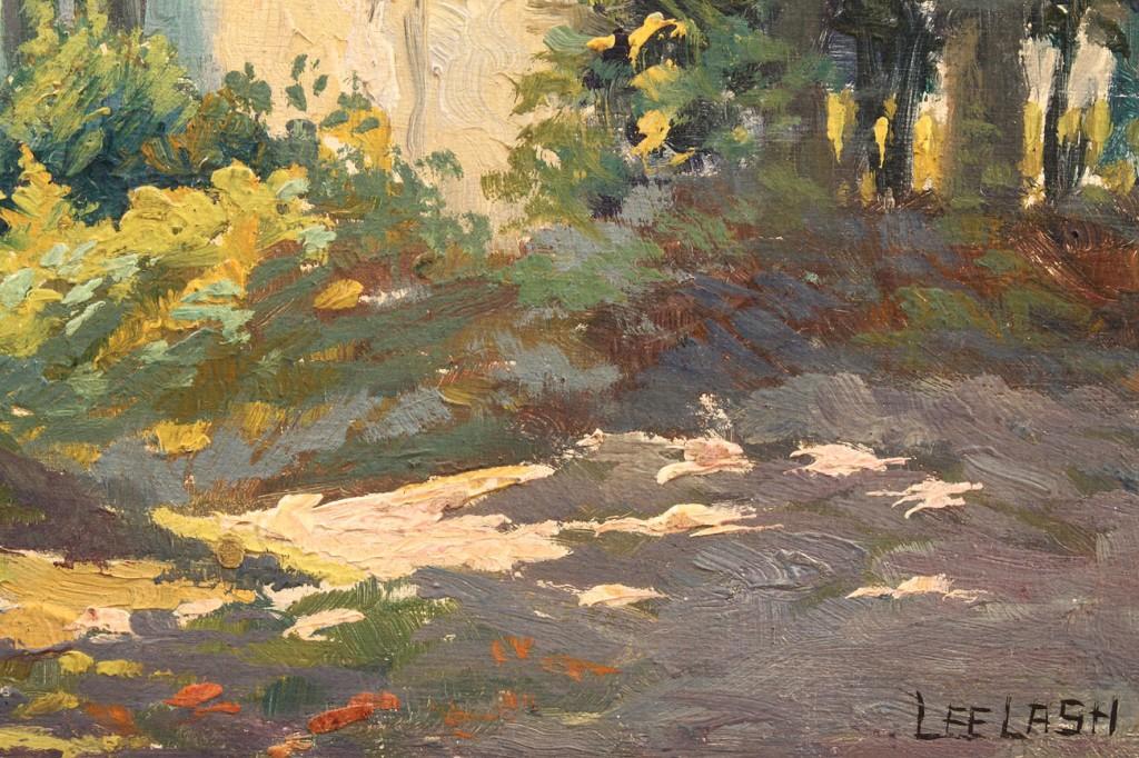 Lot 145: Lee Lash Oil on Board, Cottage Scene