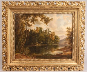 Lot 146: American school landscape with log cabin