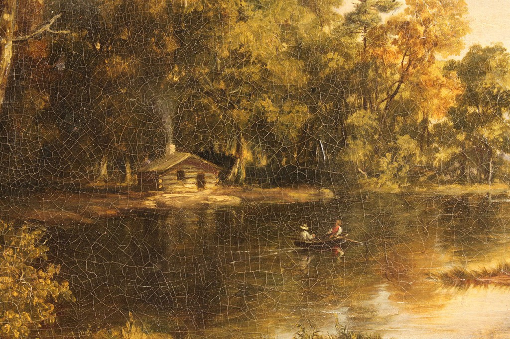 Lot 146: American school landscape with log cabin