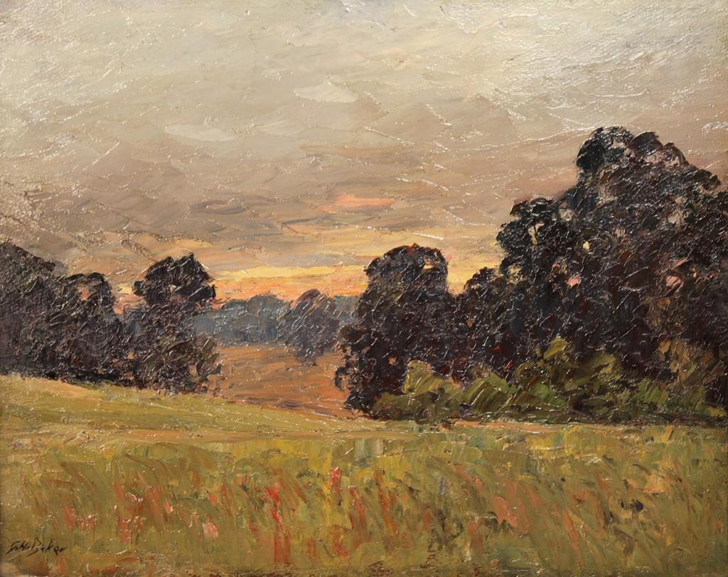 Lot 147: George H. Baker, Indiana landscape, 2 sided