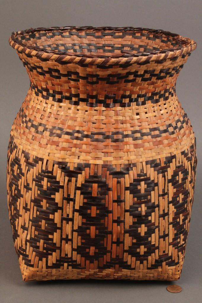 "Lot 14: Cherokee Rivercane Storage Basket, 12"" Height"