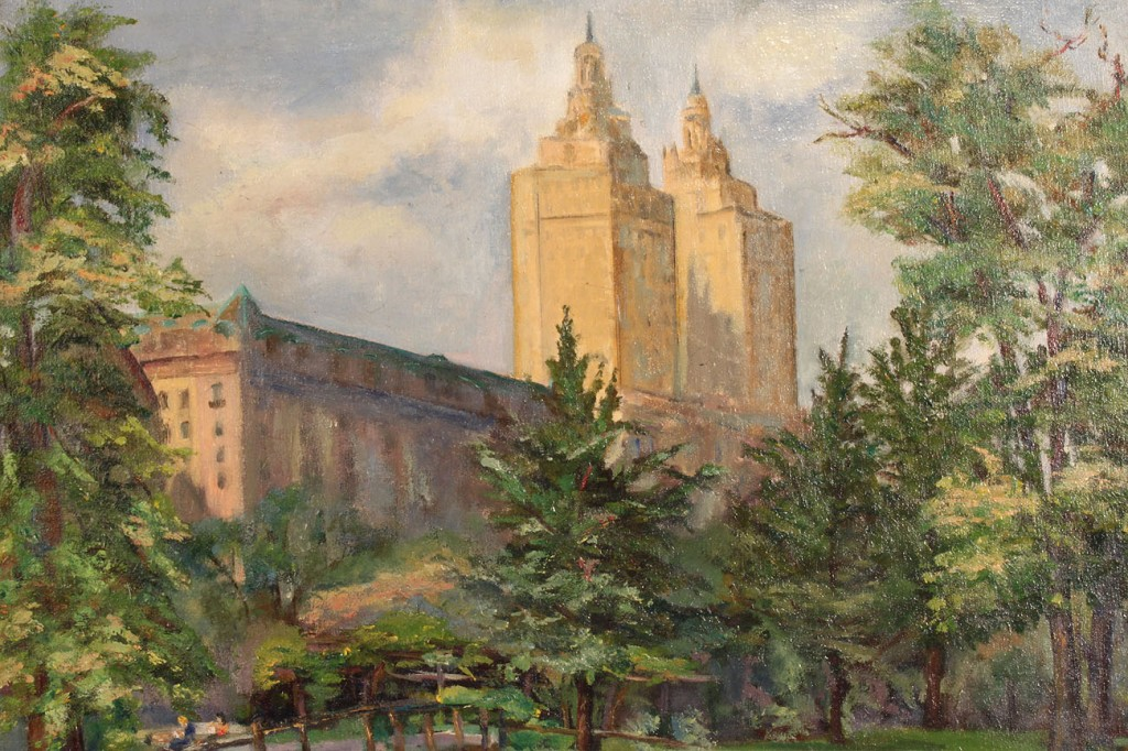 Lot 150: Oil on board, New York cityscape, San Remo Towers