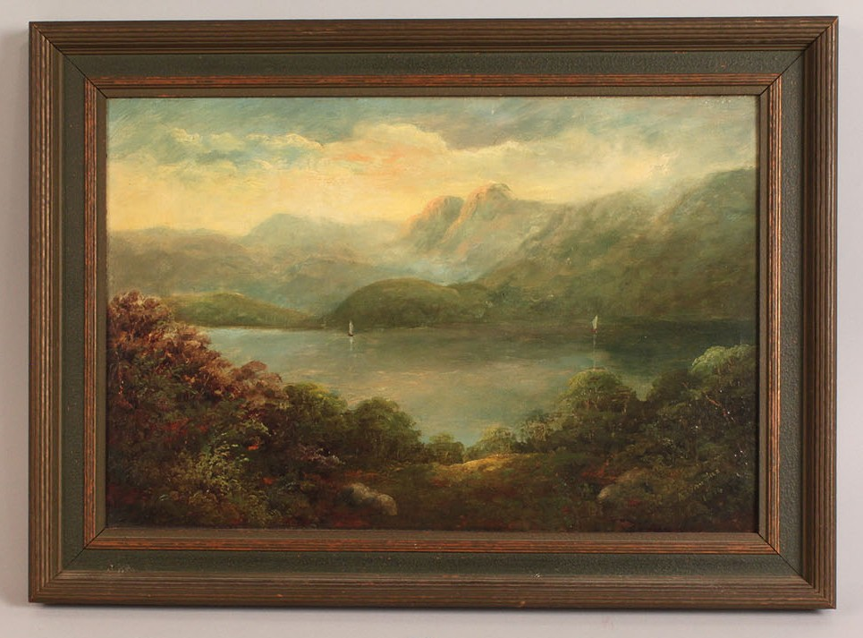 Lot 151: American school Landscape with lakes and boats