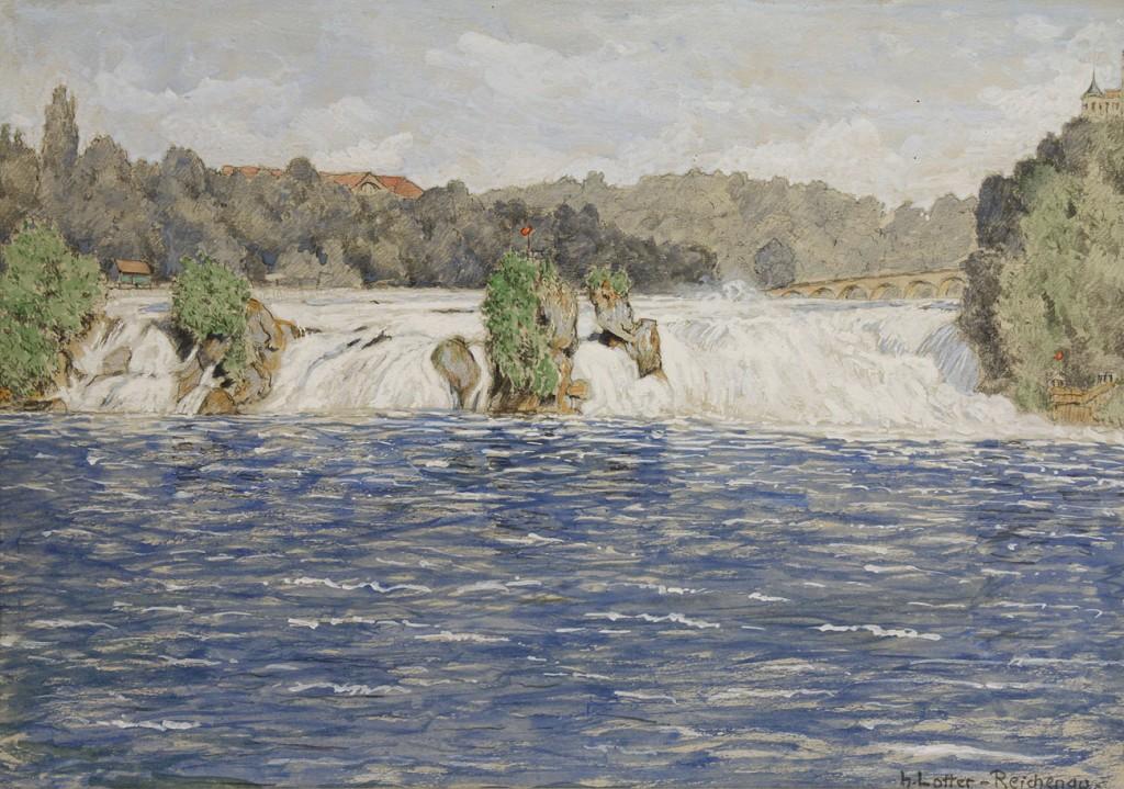 Lot 155: Heinrich Lotter, watercolor landscape, Reichenau