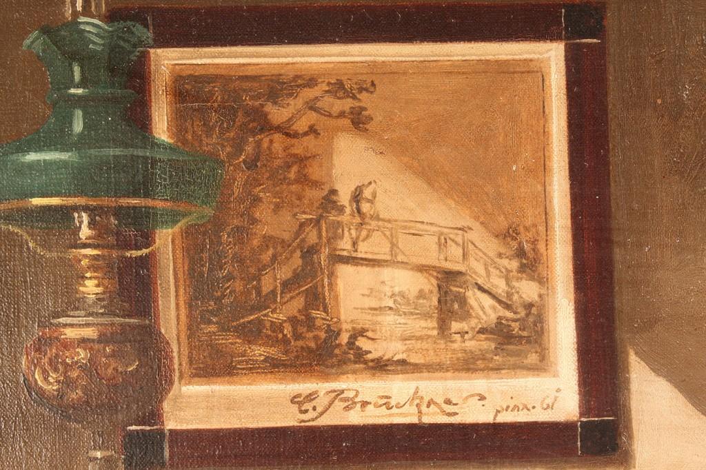 """Lot 156: Curt Bruckner oil on canvas, """"Stamp Collector"""""""