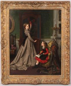 Lot 157: Jan F. P. Portielje oil on panel, genre scene
